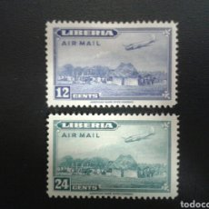 Sellos: LIBERIA. YVERT A-38/9. SERIE COMPLETA NUEVA CON CHARNELA. AVIONES.. Lote 117173515