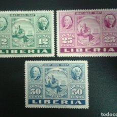 Sellos: LIBERIA. YVERT A-50/2. SERIE COMPLETA NUEVA CON CHARNELA. SELLOS SOBRE SELLOS.. Lote 117173558