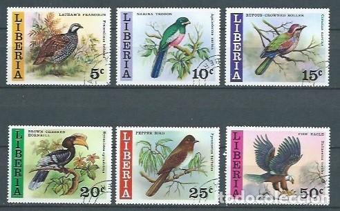 LIBERIA,1977,PÁJAROS DE LIBERIA,USADOS,YVERT 736-741 (Sellos - Extranjero - África - Liberia)