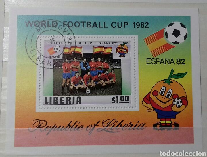 HOJA BLOQUE DE LIBERIA MUNDIAL DE FÚTBOL ESPAÑA '82 (Sellos - Extranjero - África - Liberia)