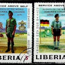 Sellos: LIBERIA SCOTT: 563/64-(1971) (BOY SCOUT JAMBOREE MUNDIAL) USADO. Lote 155854506