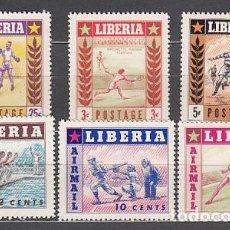 Sellos: LIBERIA - CORREO 1955 YVERT 325/7+A.86/8 ** MNH DEPORTES. Lote 155947872