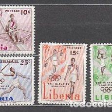 Sellos: LIBERIA - CORREO 1960 YVERT 368/70+A.122 ** MNH OLIMPIADAS DE ROMA. Lote 155947936