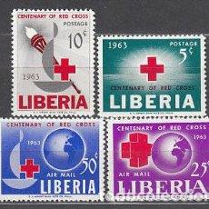 Francobolli: LIBERIA - CORREO 1963 YVERT 389/90+A.142/3 ** MNH CRUZ ROJA. Lote 155947976