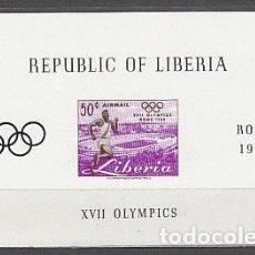 Sellos: LIBERIA - HOJAS YVERT 16 ** MNH OLIMPIADAS DE ROMA. Lote 155948766