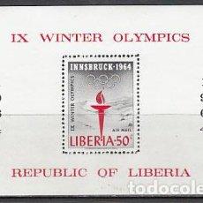 Sellos: LIBERIA - HOJAS YVERT 28 ** MNH OLIMPIADAS DE INSBRUCK. Lote 155948786