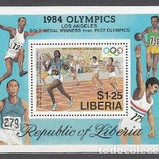 Sellos: LIBERIA - HOJAS YVERT 107 ** MNH OLIMPIADAS DE LOS ANGELES. Lote 155948970