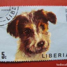 Sellos: LIBERIA 1974, PERROS, YVERT 639. Lote 176474905