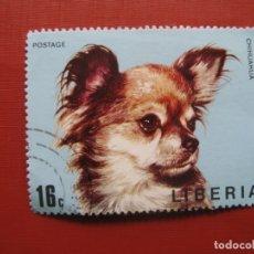 Sellos: LIBERIA 1974, PERROS, YVERT 641. Lote 176474992
