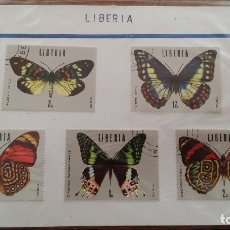 Sellos: ANTIGUOS SELLOS SERIE COMOPLETA MARIPOSAS LIBERIA. Lote 177982314