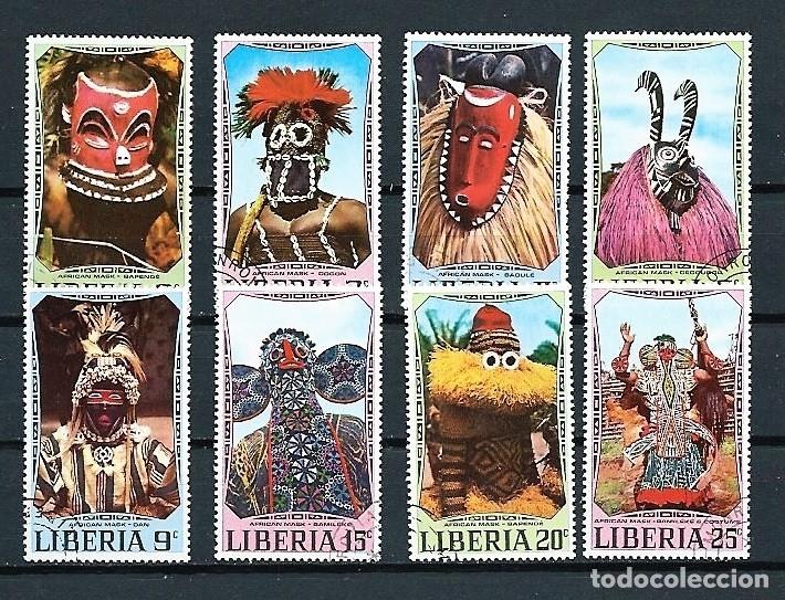 LIBERIA,1972,MÁSCARAS,MICHEL 769-776,USADOS (Sellos - Extranjero - África - Liberia)