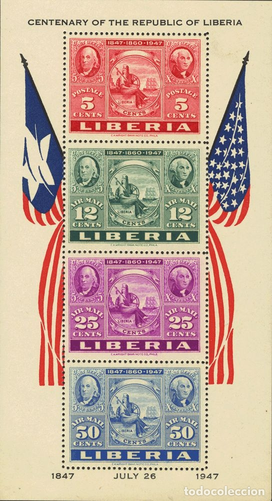 LIBERIA, HOJA BLOQUE. MH *YV 1. 1947. HOJA BLOQUE. MAGNIFICA. YVERT 2013: 200 EUROS. REF: 6134 (Sellos - Extranjero - África - Liberia)