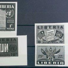 Sellos: LIBERIA. MNH **YV 315/17S, A66S. 1953. SERIE COMPLETA. ENSAYOS DE COLOR SIN DENTAR, EN NEGRO. MAGNI. Lote 183122481