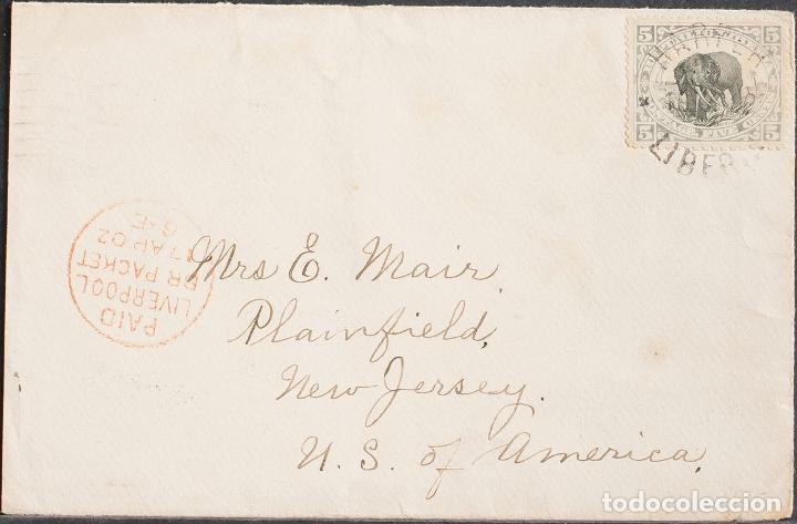 LIBERIA. SOBRE YV 53. 1902. 5 CTVOS GRIS Y NEGRO. HARPER A PLAINFIELD (U.S.A.). MATASELLO HARPER / (Sellos - Extranjero - África - Liberia)