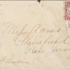 Sellos: LIBERIA. SOBRE YV 43. 1900. 5 CTVOS CARMÍN Y NEGRO. HARPER A PLAINFIELD (U.S.A.). MATASELLO HARPER. Lote 183145421