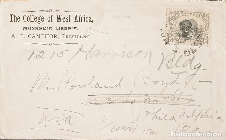 LIBERIA. SOBRE YV 53. 1900. 5 CTVOS GRIS Y NEGRO. MONROVIA A PHILADELPHIA (U.S.A.). MATASELLO MONRO (Sellos - Extranjero - África - Liberia)
