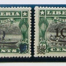 Sellos: LIBERIA. MH *YV 122A, 122B. 1916. 10 CTS SOBRE 50 CTS VERDE Y NEGRO, DOS SELLOS. CAMBIOS DE COLOR D. Lote 183164312