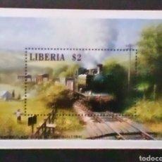 Sellos: TRENES ANTIGUOS HOJA BLOQUE DE SELLOS NUEVOS DE LIBERIA. Lote 184566675