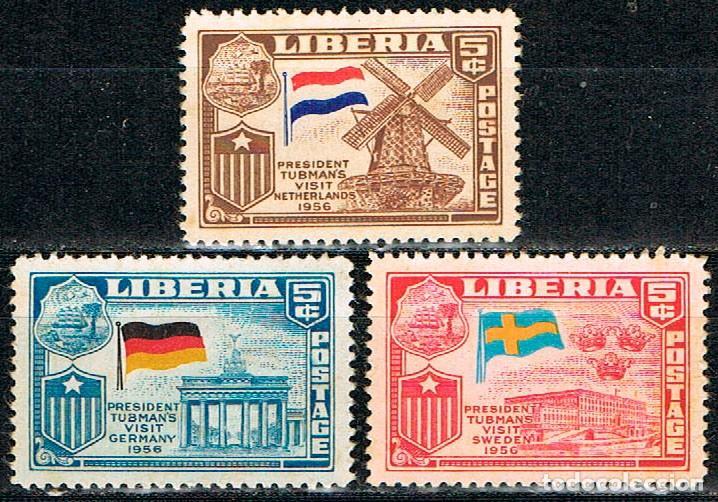 LIBERIA Nº 582/4, VISITA DEL PRESIDENTE TUBMAN A EUROPA (HOLANDA, ALEMANIA Y SUECIA) NEUVO CON SEÑAL (Sellos - Extranjero - África - Liberia)
