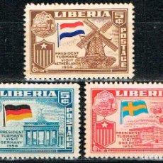Sellos: LIBERIA Nº 582/4, VISITA DEL PRESIDENTE TUBMAN A EUROPA (HOLANDA, ALEMANIA Y SUECIA) NEUVO CON SEÑAL. Lote 191830961