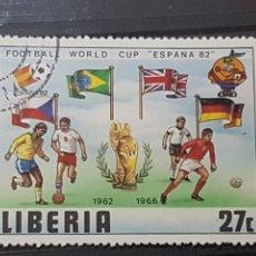 Sellos: LIBERIA_SELLO USADO_MUNDIAL FUTBOL 1982 FINALISTAS 62 66_YT-LR 889 AÑO 1981 LOTE 2295. Lote 192689302