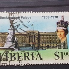 Sellos: LIBERIA_SELLO USADO_BUCKINHAM PALACE REINA ISABEL_YT-LR 774 AÑO 1978 LOTE 2301. Lote 192689441