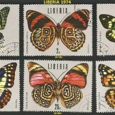 Sellos: LIBERIA 1974 - LR 930 A 935 - 6 SELLOS NUEVOS - TEMA MARIPOSAS. Lote 194088547