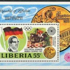 Sellos: LIBERIA 1973 HB IVERT 63 *** MEDALLAS DE LOS JUEGOS OLIMPICOS DE MUNICH - DEPORTES. Lote 197726653