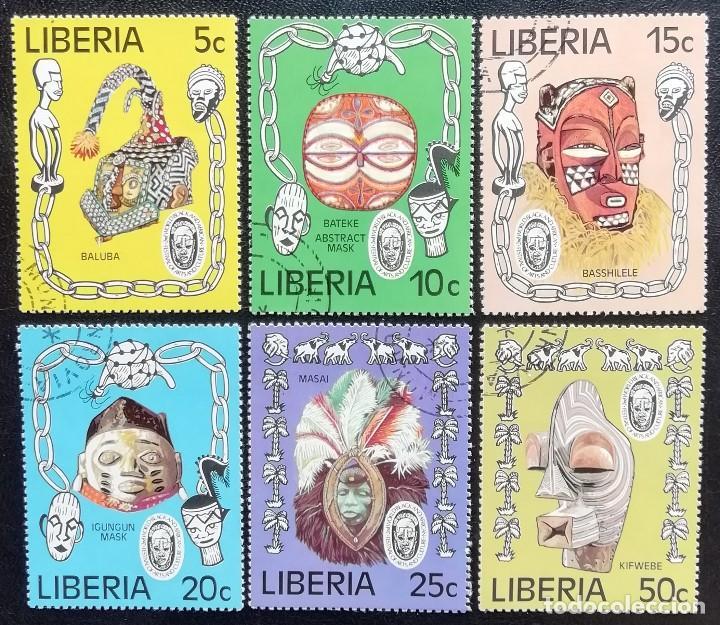 1977.LIBERIA.730/735.FESTIVAL MUNDIAL ARTES AFRICANAS.SÍMBOLOS DISTINTAS TRIBUS.SERIE COMPLETA.USADO (Sellos - Extranjero - África - Liberia)
