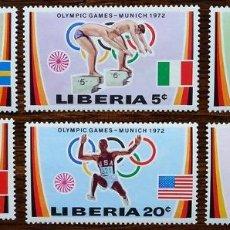 Sellos: LIBERIA 1972 SPORT OLYMPIC GAMES MUNICH MI.826-31 MNH M.238. Lote 198273061