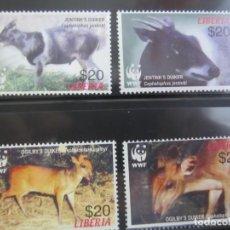 Sellos: LIBERIA 4 V. WWF NUEVO. Lote 201126127