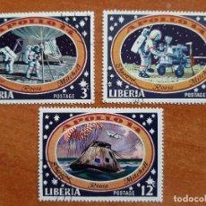 Sellos: TRES SELLOS : VIAJES AL ESPACIO - LIBERIA - CON MATASELLOS. Lote 207361248