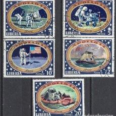 Sellos: LIBERIA 1971 - 3ª LLEGADA DEL HOMBRE A LA LUNA, APOLO 14, 5 VALORES - SELLOS USADOS. Lote 208062606