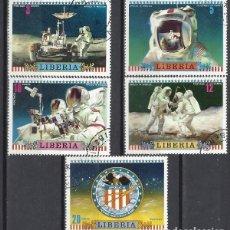 Sellos: LIBERIA 1972 - APOLO 16, 5 VALORES - SELLOS USADOS. Lote 208062778