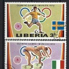 Sellos: LIBERIA 1972 - JJOO DE MUNICH , 5 VALORES - SELLOS USADOS. Lote 208063430