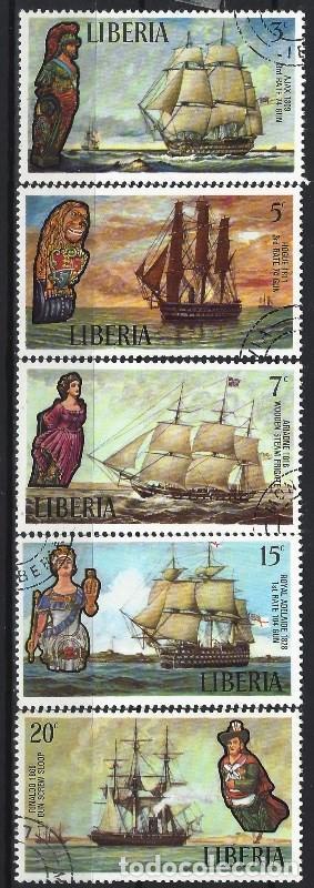 LIBERIA 1972 - BARCOS ANTIGUOS , 5 VALORES - SELLOS USADOS (Sellos - Extranjero - África - Liberia)