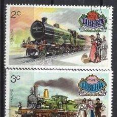 Sellos: LIBERIA 1973 - LOCOMOTORAS , 5 VALORES - SELLOS USADOS. Lote 208063645