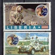 Sellos: LIBERIA 1973 - APOLO 17, 5 VALORES - SELLOS USADOS. Lote 209772021