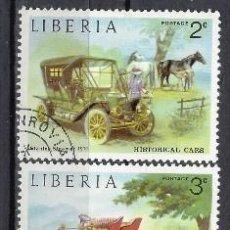 Sellos: LIBERIA 1973 - COCHES HISTÓRICOS, 5 VALORES - SELLOS USADOS. Lote 209772130