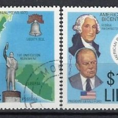 Sellos: LIBERIA 1975 - 200º ANIV. DE LA REVOLUCIÓN AMERICANA, S.COMPLETA - SELLOS USADOS. Lote 209772962