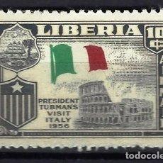 Sellos: LIBERIA 1958 - VISITA DEL PRESIDENTE TUBMAN A EUROPA, ITALIA, AÉREO - SELLO NUEVO C/F*. Lote 209774073