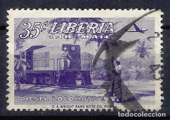LIBERIA 1953 - RECONSTRUCCIÓN NACIONAL, LOCOMOTORA DIESEL, AÉREO - SELLO USADO (Sellos - Extranjero - África - Liberia)