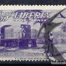 Timbres: LIBERIA 1953 - RECONSTRUCCIÓN NACIONAL, LOCOMOTORA DIESEL, AÉREO - SELLO USADO. Lote 209775287