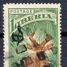 Francobolli: LIBERIA 1918 - SELLO OFICIAL, SOBREIMPRESO O S , FAUNA, BONGO - SELLO USADO. Lote 209784378