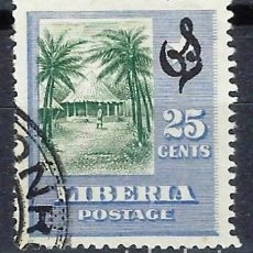 Timbres: LIBERIA 1909 - SELLO OFICIAL, SOBREIMPRESO O S - CABAÑA - SELLO USADO. Lote 209785620