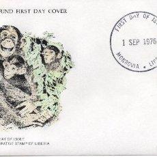 Sellos: .LIBERIA , CARTA PRIMER DIA 1976 MICHEL 1008,WWF. Lote 215731486