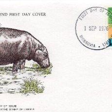 Sellos: .LIBERIA , CARTA PRIMER DIA 1976 MICHEL 1009,WWF. Lote 215731505