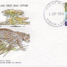Sellos: .LIBERIA , CARTA PRIMER DIA 1976 MICHEL 1010,WWF. Lote 215731527