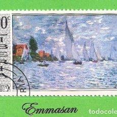 Sellos: LIBERIA - MICHEL 720 - YVERT 470 - PINTURA - REGATA EN ARGENTEUL - MONET. (1969).. Lote 216499362