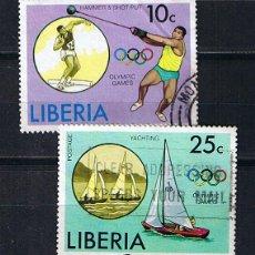 Sellos: LIBERIA 1976 OLIMPIADAS DE MONTREAL - DOS SELLOS USADOS. Lote 217505258